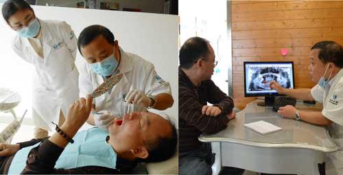 第四军医大教授武海波教授为参会顾客检查并说明其口腔状况